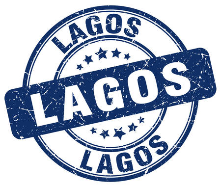 lagos: Lagos blue grunge round vintage rubber stamp.Lagos stamp.Lagos round stamp.Lagos grunge stamp.Lagos.Lagos vintage stamp.