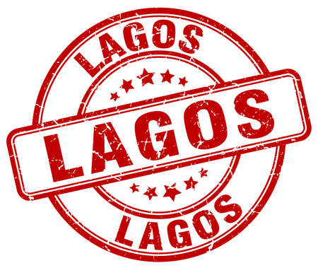 lagos: Lagos red grunge round vintage rubber stamp.Lagos stamp.Lagos round stamp.Lagos grunge stamp.Lagos.Lagos vintage stamp.
