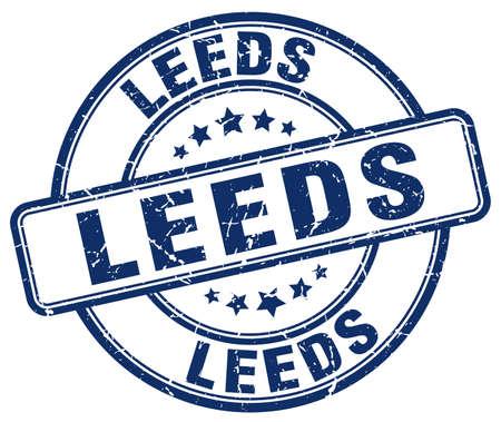 leeds: Leeds blue grunge round vintage rubber stamp.Leeds stamp.Leeds round stamp.Leeds grunge stamp.Leeds.Leeds vintage stamp.