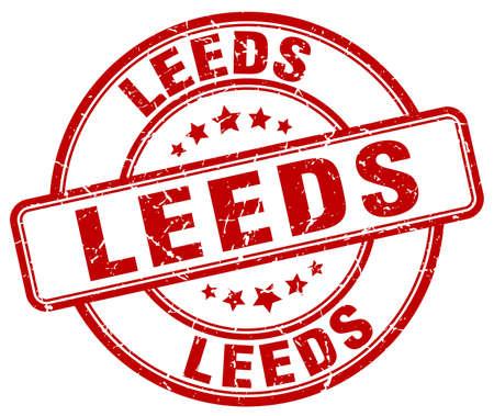 leeds: Leeds red grunge round vintage rubber stamp.Leeds stamp.Leeds round stamp.Leeds grunge stamp.Leeds.Leeds vintage stamp.