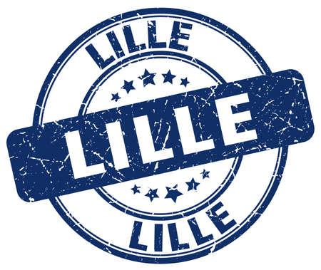 lille: Lille blue grunge round vintage rubber stamp.Lille stamp.Lille round stamp.Lille grunge stamp.Lille.Lille vintage stamp.