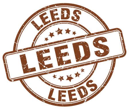 leeds: Leeds brown grunge round vintage rubber stamp.Leeds stamp.Leeds round stamp.Leeds grunge stamp.Leeds.Leeds vintage stamp. Illustration