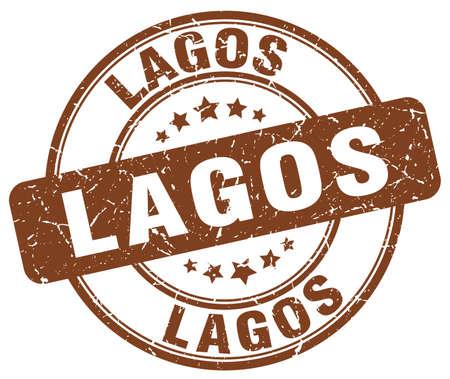 lagos: Lagos brown grunge round vintage rubber stamp.Lagos stamp.Lagos round stamp.Lagos grunge stamp.Lagos.Lagos vintage stamp.