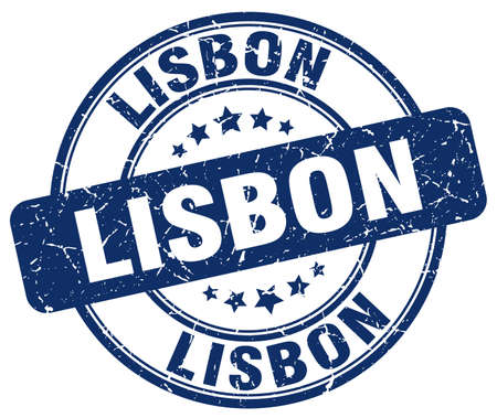 lisbon: Lisbon blue grunge round vintage rubber stamp.Lisbon stamp.Lisbon round stamp.Lisbon grunge stamp.Lisbon.Lisbon vintage stamp.