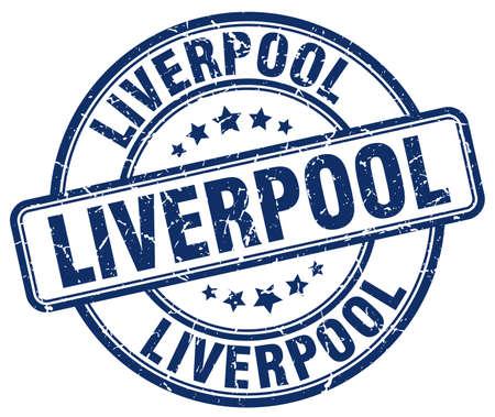 liverpool: Liverpool blue grunge round vintage rubber stamp.Liverpool stamp.Liverpool round stamp.Liverpool grunge stamp.Liverpool.Liverpool vintage stamp.