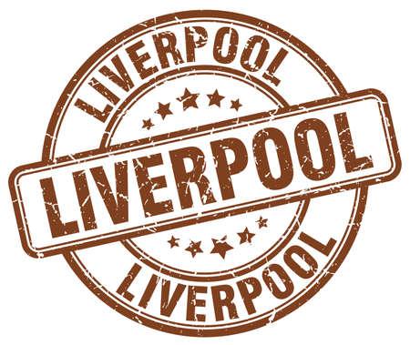 liverpool: Liverpool brown grunge round vintage rubber stamp.Liverpool stamp.Liverpool round stamp.Liverpool grunge stamp.Liverpool.Liverpool vintage stamp. Illustration