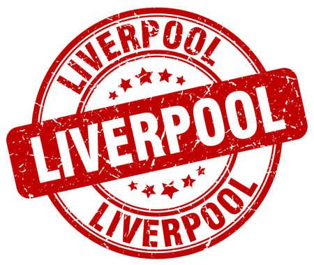 liverpool: Liverpool red grunge round vintage rubber stamp.Liverpool stamp.Liverpool round stamp.Liverpool grunge stamp.Liverpool.Liverpool vintage stamp. Illustration