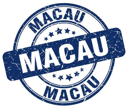 macau: Macau blue grunge round vintage rubber stamp.Macau stamp.Macau round stamp.Macau grunge stamp.Macau.Macau vintage stamp.