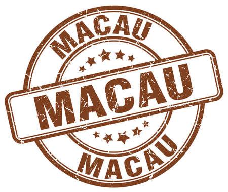 macau: Macau brown grunge round vintage rubber stamp.Macau stamp.Macau round stamp.Macau grunge stamp.Macau.Macau vintage stamp. Illustration