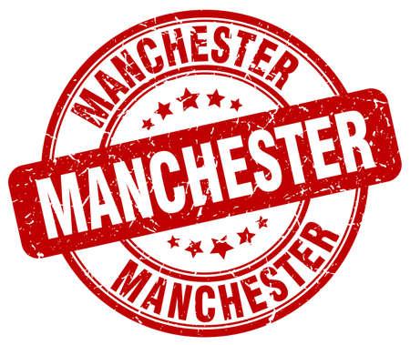 manchester: Manchester red grunge round vintage rubber stamp.Manchester stamp.Manchester round stamp.Manchester grunge stamp.Manchester.Manchester vintage stamp.