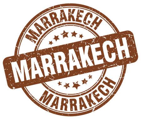 marrakech: Marrakech brown grunge round vintage rubber stamp.Marrakech stamp.Marrakech round stamp.Marrakech grunge stamp.Marrakech.Marrakech vintage stamp.