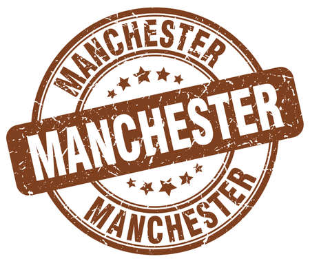 manchester: Manchester brown grunge round vintage rubber stamp.Manchester stamp.Manchester round stamp.Manchester grunge stamp.Manchester.Manchester vintage stamp.