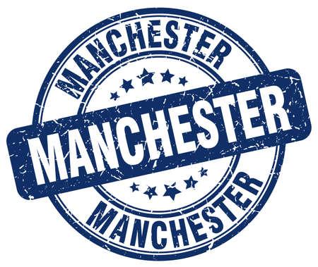 manchester: Manchester blue grunge round vintage rubber stamp.Manchester stamp.Manchester round stamp.Manchester grunge stamp.Manchester.Manchester vintage stamp. Illustration