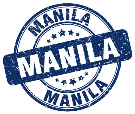 manila: Manila blue grunge round vintage rubber stamp.Manila stamp.Manila round stamp.Manila grunge stamp.Manila.Manila vintage stamp.
