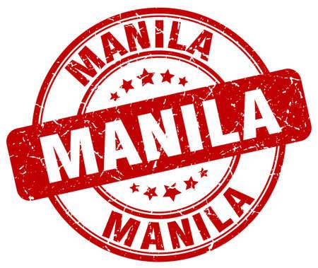 manila: Manila red grunge round vintage rubber stamp.Manila stamp.Manila round stamp.Manila grunge stamp.Manila.Manila vintage stamp.