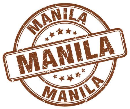 manila: Manila brown grunge round vintage rubber stamp.Manila stamp.Manila round stamp.Manila grunge stamp.Manila.Manila vintage stamp. Illustration