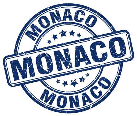 grunge rubber stamp: Monaco blue grunge round vintage rubber stamp.Monaco stamp.Monaco round stamp.Monaco grunge stamp.Monaco.Monaco vintage stamp.