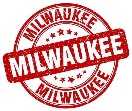 milwaukee: Milwaukee red grunge round vintage rubber stamp.Milwaukee stamp.Milwaukee round stamp.Milwaukee grunge stamp.Milwaukee.Milwaukee vintage stamp. Illustration