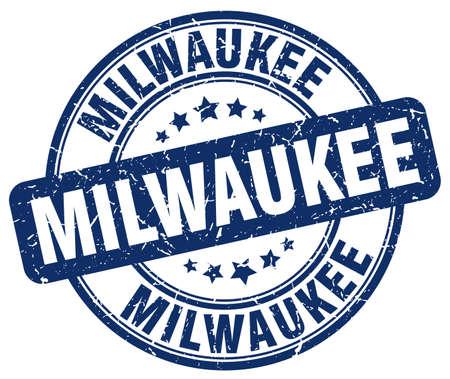 Milwaukee: Milwaukee blue grunge round vintage rubber stamp.Milwaukee stamp.Milwaukee round stamp.Milwaukee grunge stamp.Milwaukee.Milwaukee vintage stamp.