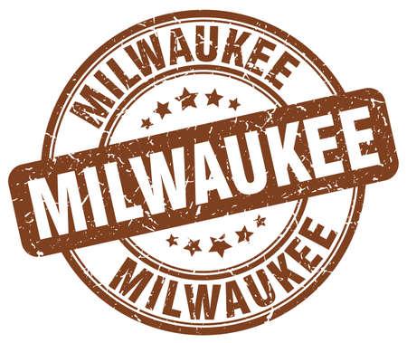 milwaukee: Milwaukee brown grunge round vintage rubber stamp.Milwaukee stamp.Milwaukee round stamp.Milwaukee grunge stamp.Milwaukee.Milwaukee vintage stamp.