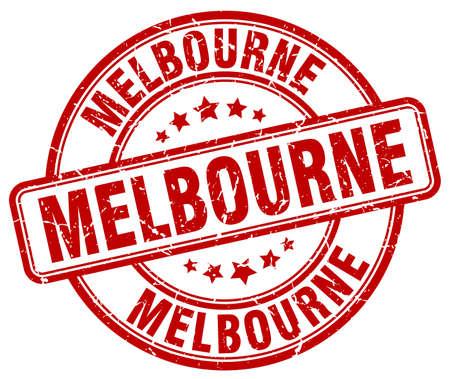 melbourne: Melbourne red grunge round vintage rubber stamp.Melbourne stamp.Melbourne round stamp.Melbourne grunge stamp.Melbourne.Melbourne vintage stamp.