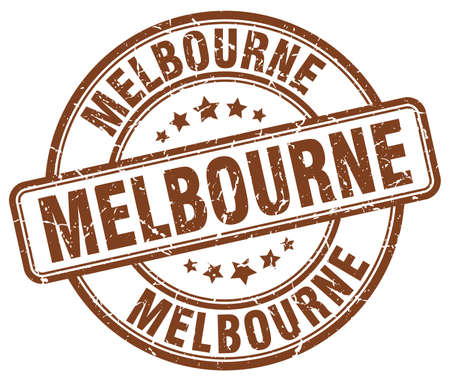 melbourne: Melbourne brown grunge round vintage rubber stamp.Melbourne stamp.Melbourne round stamp.Melbourne grunge stamp.Melbourne.Melbourne vintage stamp.