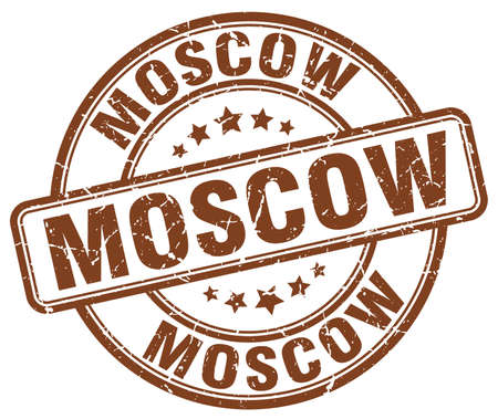 moscow: Moscow brown grunge round vintage rubber stamp.Moscow stamp.Moscow round stamp.Moscow grunge stamp.Moscow.Moscow vintage stamp. Illustration