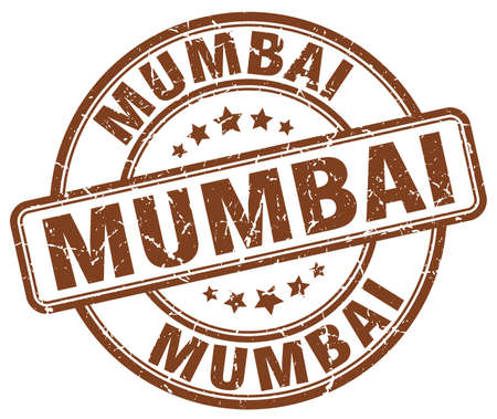 mumbai: Mumbai brown grunge round vintage rubber stamp.Mumbai stamp.Mumbai round stamp.Mumbai grunge stamp.Mumbai.Mumbai vintage stamp. Illustration