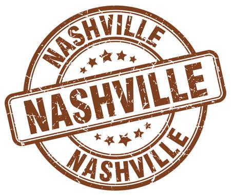 nashville: Nashville brown grunge round vintage rubber stamp.Nashville stamp.Nashville round stamp.Nashville grunge stamp.Nashville.Nashville vintage stamp.