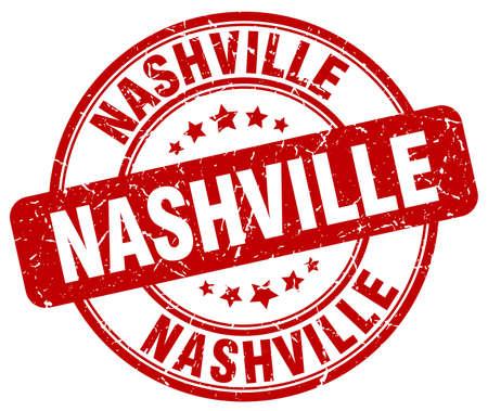 nashville: Nashville red grunge round vintage rubber stamp.Nashville stamp.Nashville round stamp.Nashville grunge stamp.Nashville.Nashville vintage stamp. Illustration