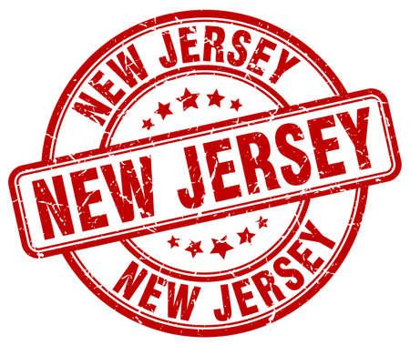 jersey: New Jersey red grunge round vintage rubber stamp.New Jersey stamp.New Jersey round stamp.New Jersey grunge stamp.New Jersey.New Jersey vintage stamp.