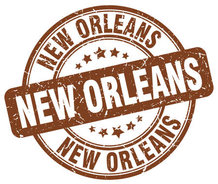 orleans: New Orleans brown grunge round vintage rubber stamp.New Orleans stamp.New Orleans round stamp.New Orleans grunge stamp.New Orleans.New Orleans vintage stamp. Illustration
