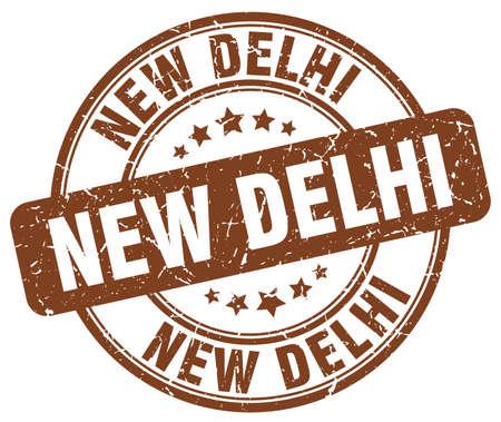 new delhi: New Delhi brown grunge round vintage rubber stamp.New Delhi stamp.New Delhi round stamp.New Delhi grunge stamp.New Delhi.New Delhi vintage stamp. Illustration