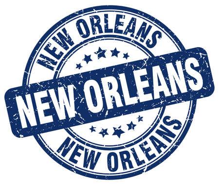 new orleans: New Orleans blue grunge round vintage rubber stamp.New Orleans stamp.New Orleans round stamp.New Orleans grunge stamp.New Orleans.New Orleans vintage stamp. Illustration