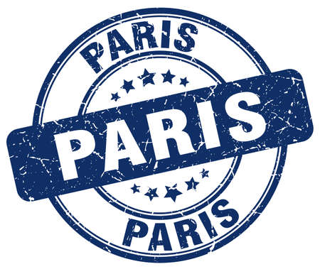 grunge rubber stamp: Paris blue grunge round vintage rubber stamp.Paris stamp.Paris round stamp.Paris grunge stamp.Paris.Paris vintage stamp.