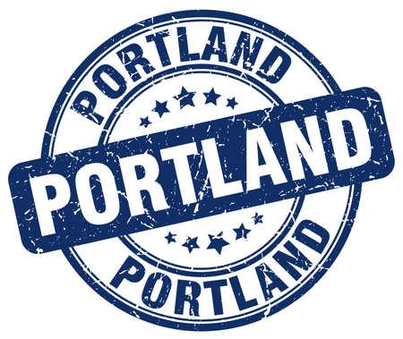 portland: Portland blue grunge round vintage rubber stamp.Portland stamp.Portland round stamp.Portland grunge stamp.Portland.Portland vintage stamp. Illustration