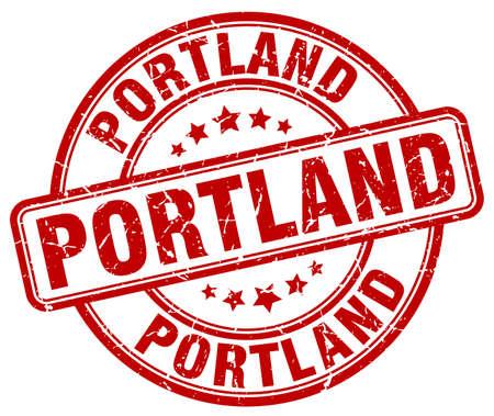 portland: Portland red grunge round vintage rubber stamp.Portland stamp.Portland round stamp.Portland grunge stamp.Portland.Portland vintage stamp.