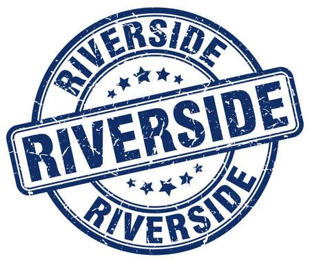 Riverside blue grunge round vintage rubber stamp.Riverside stamp.Riverside round stamp.Riverside grunge stamp.Riverside.Riverside vintage stamp. Illusztráció
