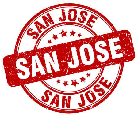 jose: San Jose red grunge round vintage rubber stamp.San Jose stamp.San Jose round stamp.San Jose grunge stamp.San Jose.San Jose vintage stamp.