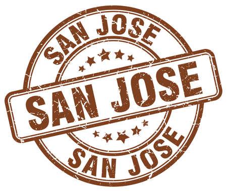 jose: San Jose brown grunge round vintage rubber stamp.San Jose stamp.San Jose round stamp.San Jose grunge stamp.San Jose.San Jose vintage stamp. Illustration
