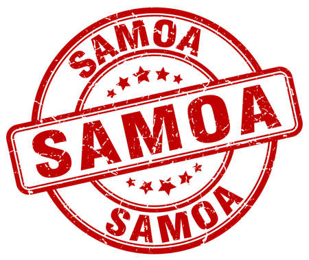 samoa: Samoa red grunge round vintage rubber stamp.Samoa stamp.Samoa round stamp.Samoa grunge stamp.Samoa.Samoa vintage stamp.