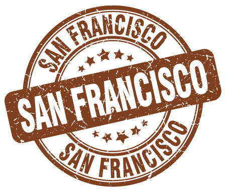 francisco: San Francisco brown grunge round vintage rubber stamp.San Francisco stamp.San Francisco round stamp.San Francisco grunge stamp.San Francisco.San Francisco vintage stamp. Illustration