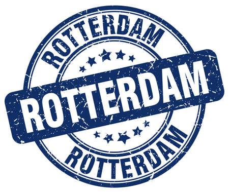 rotterdam: Rotterdam blue grunge round vintage rubber stamp.Rotterdam stamp.Rotterdam round stamp.Rotterdam grunge stamp.Rotterdam.Rotterdam vintage stamp. Illustration