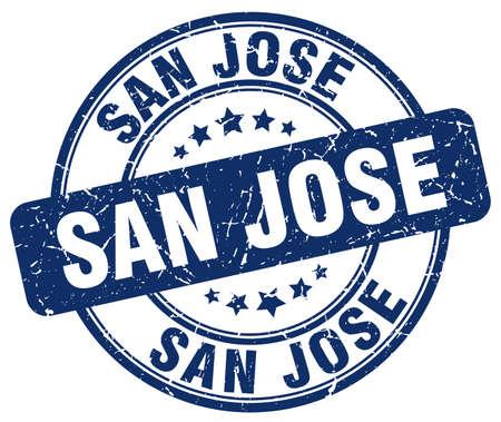jose: San Jose blue grunge round vintage rubber stamp.San Jose stamp.San Jose round stamp.San Jose grunge stamp.San Jose.San Jose vintage stamp. Illustration