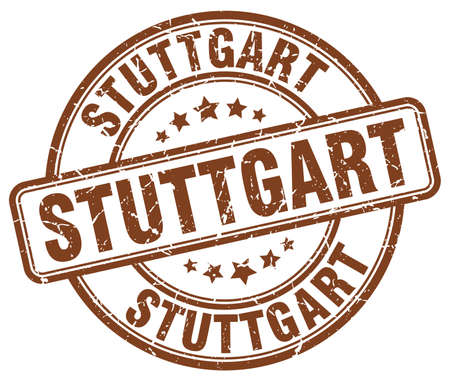 stuttgart: Stuttgart brown grunge round vintage rubber stamp.Stuttgart stamp.Stuttgart round stamp.Stuttgart grunge stamp.Stuttgart.Stuttgart vintage stamp.