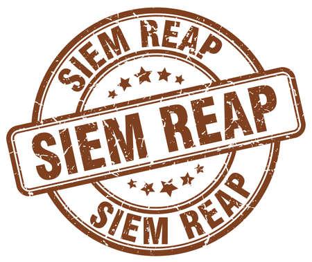 reap: Siem Reap brown grunge round vintage rubber stamp.Siem Reap stamp.Siem Reap round stamp.Siem Reap grunge stamp.Siem Reap.Siem Reap vintage stamp.