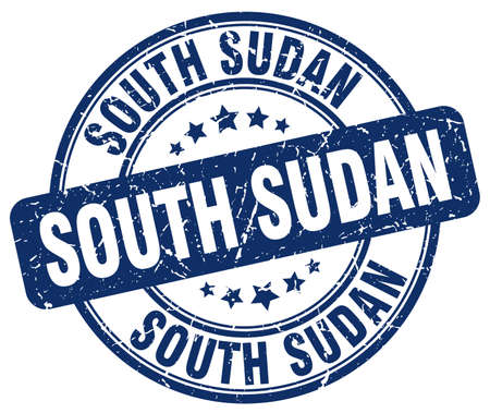 sudan: South Sudan blue grunge round vintage rubber stamp.South Sudan stamp.South Sudan round stamp.South Sudan grunge stamp.South Sudan.South Sudan vintage stamp. Illustration