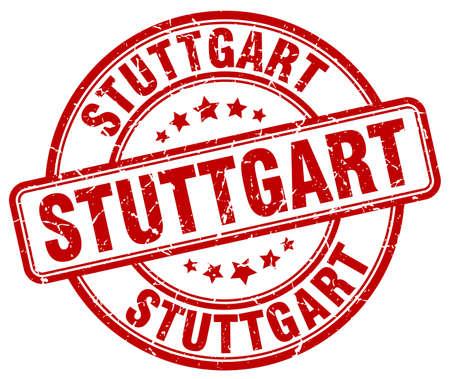stuttgart: Stuttgart red grunge round vintage rubber stamp.Stuttgart stamp.Stuttgart round stamp.Stuttgart grunge stamp.Stuttgart.Stuttgart vintage stamp. Illustration
