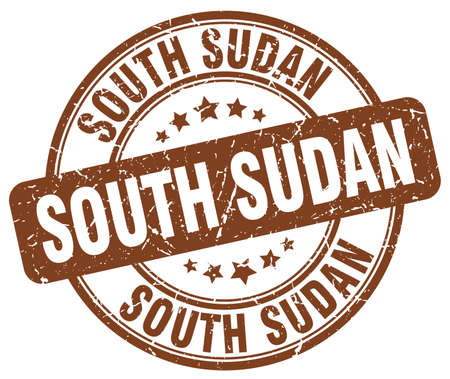 Sudan: South Sudan brown grunge round vintage rubber stamp.South Sudan stamp.South Sudan round stamp.South Sudan grunge stamp.South Sudan.South Sudan vintage stamp.