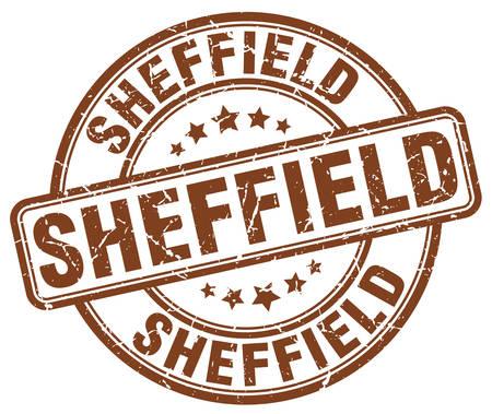 sheffield: Sheffield brown grunge round vintage rubber stamp.Sheffield stamp.Sheffield round stamp.Sheffield grunge stamp.Sheffield.Sheffield vintage stamp. Illustration